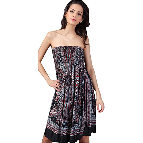 Shawhuaa Womens Bohemian Vintage Tube Dress Summer Casual Beachwear Medium Black