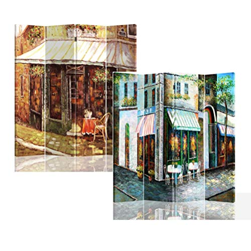 Roundhill Furniture Corner Store 4 Panels Double Sided Canvas Painting Room Divider Screen