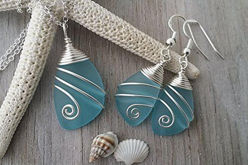 Handmade in Hawaii,Wire wrapped turquoise bay blue sea glass necklace + earrings jewelry set, sterling silver chain, Hawaiian Gift, FREE gift wrap, FREE gift message, FREE (Turquoise Starfish Earrings)