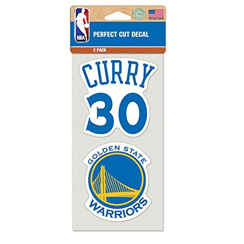 Golden State Warriors Perfect Cut Decal Set Of Two 4'' x 4'' Stephen Curry by NBA