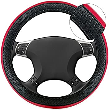 Mitsubishi Colt Black /& Red Sports Grip Steering Wheel Cover Glove 37cm