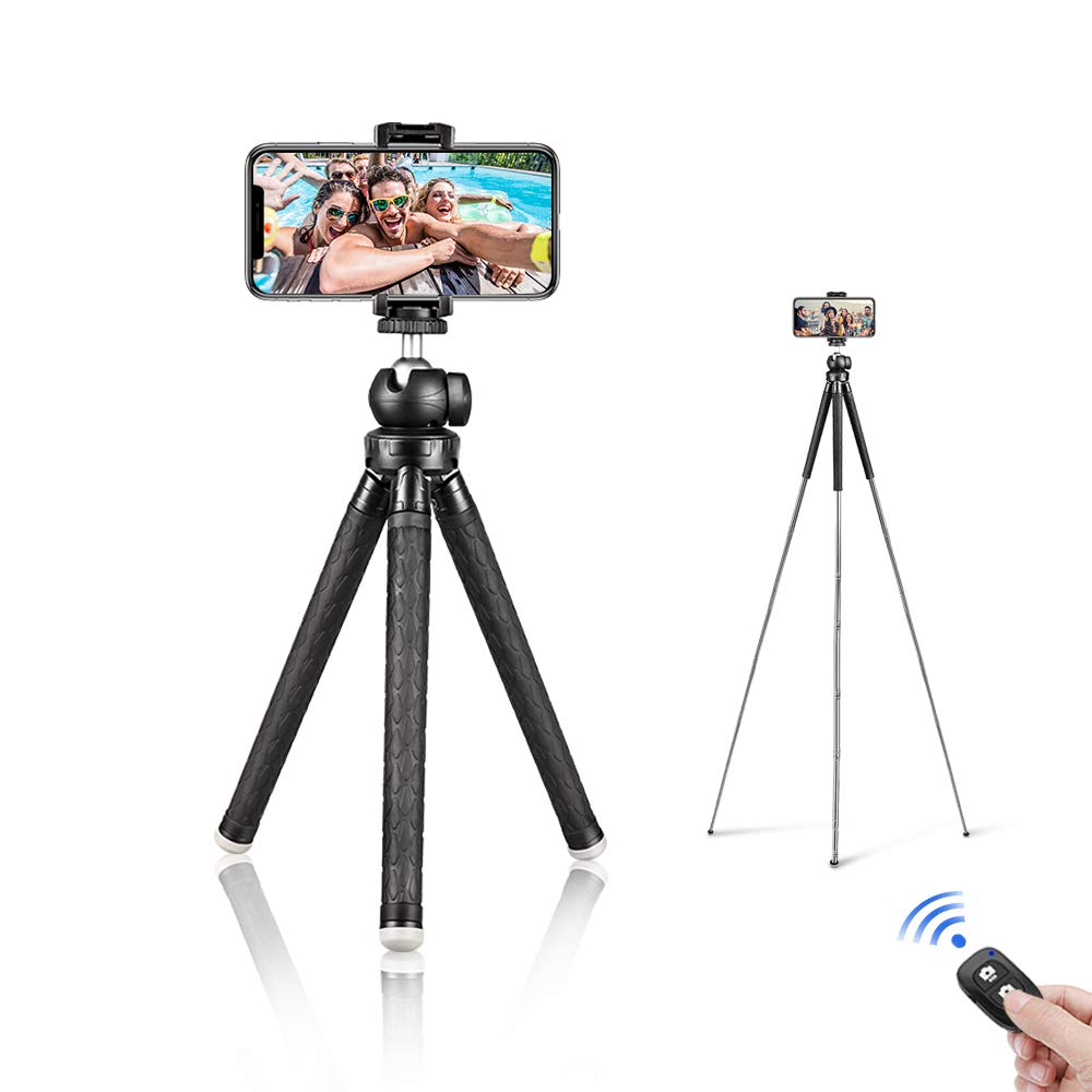 Aureday 39.5'' Cell Phone Tripod, Portable Extendable Adjustable Tripod Stand with Cellphone Mount & Wireless Remote, Fits iPhone & Android Phone by Aureday
