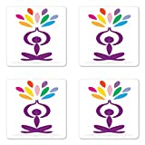 Lunarable Yoga Coaster Set of Four, Meditation and Wellbeing Concept Man in Lotus Pose with Rainbow Colored Drop Shapes, Square Hardboard Gloss Coasters for Drinks, Multicolor