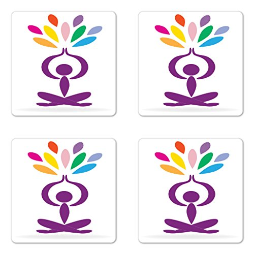 Lunarable Yoga Coaster Set of Four, Meditation and Wellbeing Concept Man in Lotus Pose with Rainbow Colored Drop Shapes, Square Hardboard Gloss Coasters for Drinks, Multicolor by Lunarable