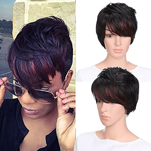 AISI HAIR Synthetic Short Wigs for Black Women Pixie Cut Wig Two Tone Color Wigs + a free wig cap (Wigs For Black Women)