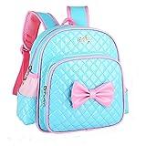 Baby Girls Kids Kindergaten Toddler Backpack Princess Bowknot Print School Bags Shoulder Bag (Blue, 25cm(L)12cm(W)29cm(H))