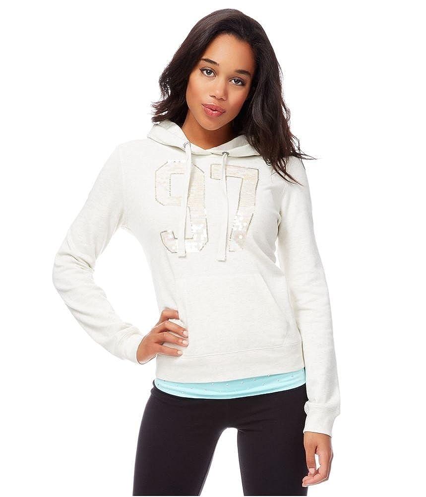 Aeropostale Womens Sequined 97 Hooded Hoodie Sweatshirt
