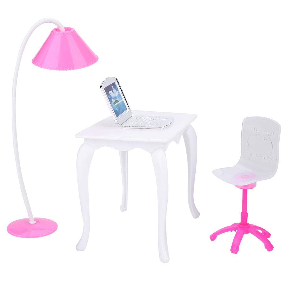 TOPINCN Doll Role Play Furniture Accessories Children Girls Pretend Play Toy Kit Plastic Computer Desk Table Lamp Chair for 11inch Dolls Random Color