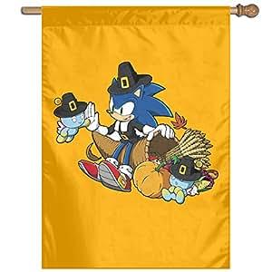 Happy de acción de gracias Sonic el erizo jardín banderas Fashion al aire libre jardín bandera