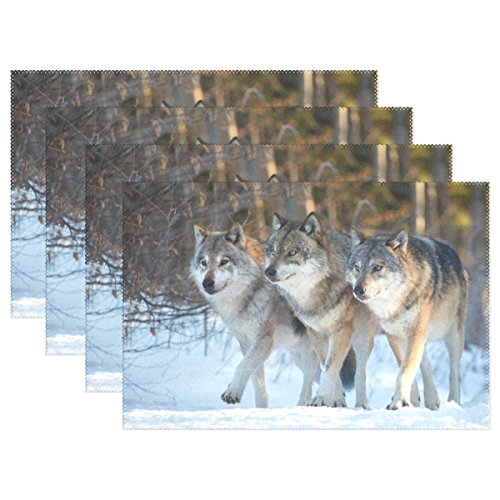 Wild Animals Placemat - WOZO Wild Animal Wolf Placemat Table Mat, Ice Snow Winter 12