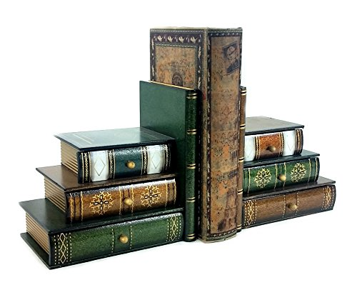 Wooden Book Bookends Library w/ Hidden Drawers