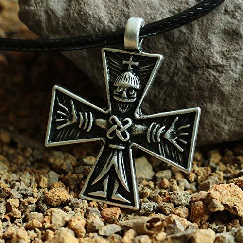 Metal Color: Antique Silver Plated Davitu 1pcs Crucifix Combining Germanic and Byzantine Forms Pendant Scandinavian Viking Men Necklace Jewelry