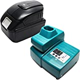 Replacement Makita BDA350 Battery & Charger with USB Power Source - For Makita 18V Lithium-Ion Power Tool Battery (3000mAh, Lithium-Ion)