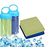 LyanStore Cooling Towel 2 Pack,Cooling Towel Instant Cooling 11.835.4in,Plastic Bottle ice Cool Cup Sports, Workout, Fitness, Swimming, Yoga(Blue,Fluorescent Green)