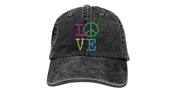 346d6ace6b9f5 Love Peace Sign Dad Hat Men Women Fitted Hats Black at Amazon Men s  Clothing store