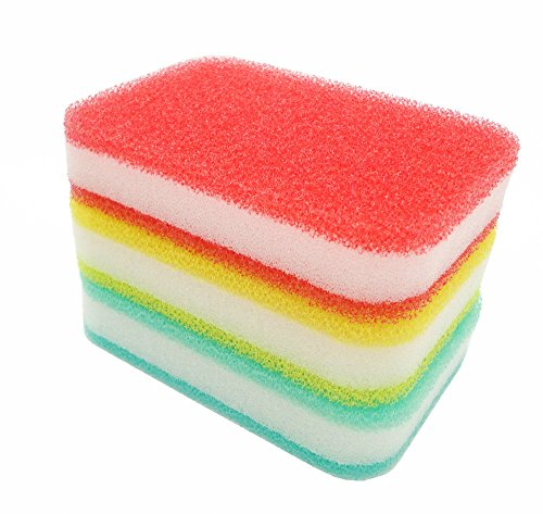 "KLEIESH Multi-Use Scrunge Scrub Sponge 3 Pack (3""x5"",Red+..."