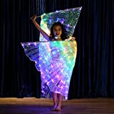 Children Belly Dance LED Angel Isis Wings Kids with Telescopic Sticks Light up Stage Props