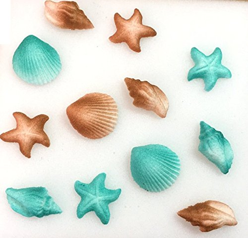 12pk Seashell Sand Water Beach Sea Creatures Star Fish Ready To Use Edible Cake / Cupcake Sugar Decoration Toppers (Teal & Sand)