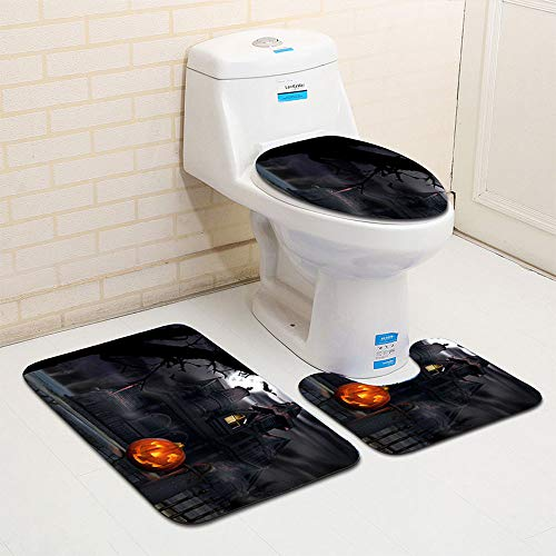 Taka Co Toilet Seat Cover Halloween Night Toilet Seat Cover and Rug Bathroom Set Halloween Decor Cover Pad Bathroom Warmer Winter Toilet Seat Cover-A -