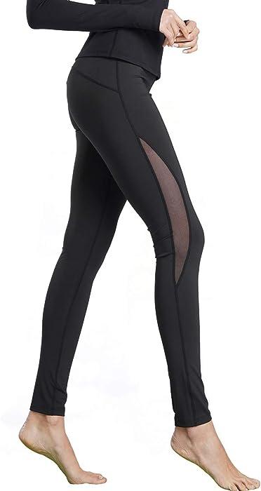 fb3b13c3d4e74 Bamans Women's Mesh Yoga Pants High Waist Stretch Non See-Through Workout  Leggings w/