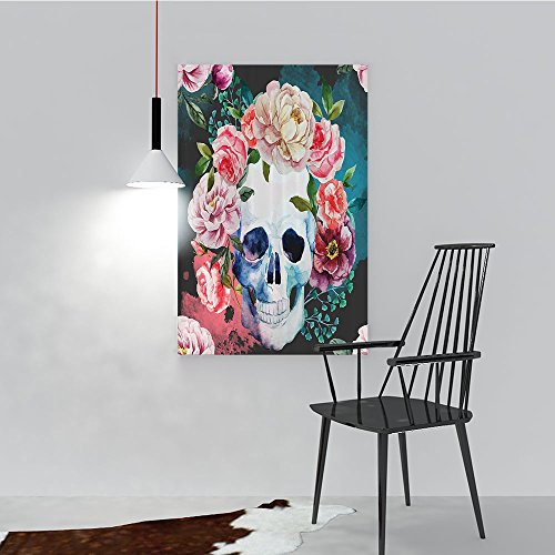 Philip C. Williams Hanging Wall Decoration Painting Flowers and Skull Skelets All Saints Halloween for Living Room Office Hotel Frameless W20 x -