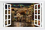 SHOBRILF Christmas Lights - World - #30456 - Art Print 3D Fake Windows Wall Stickers Removable Poster Wall Decor for Livingroom Bedroom 24x16 inches