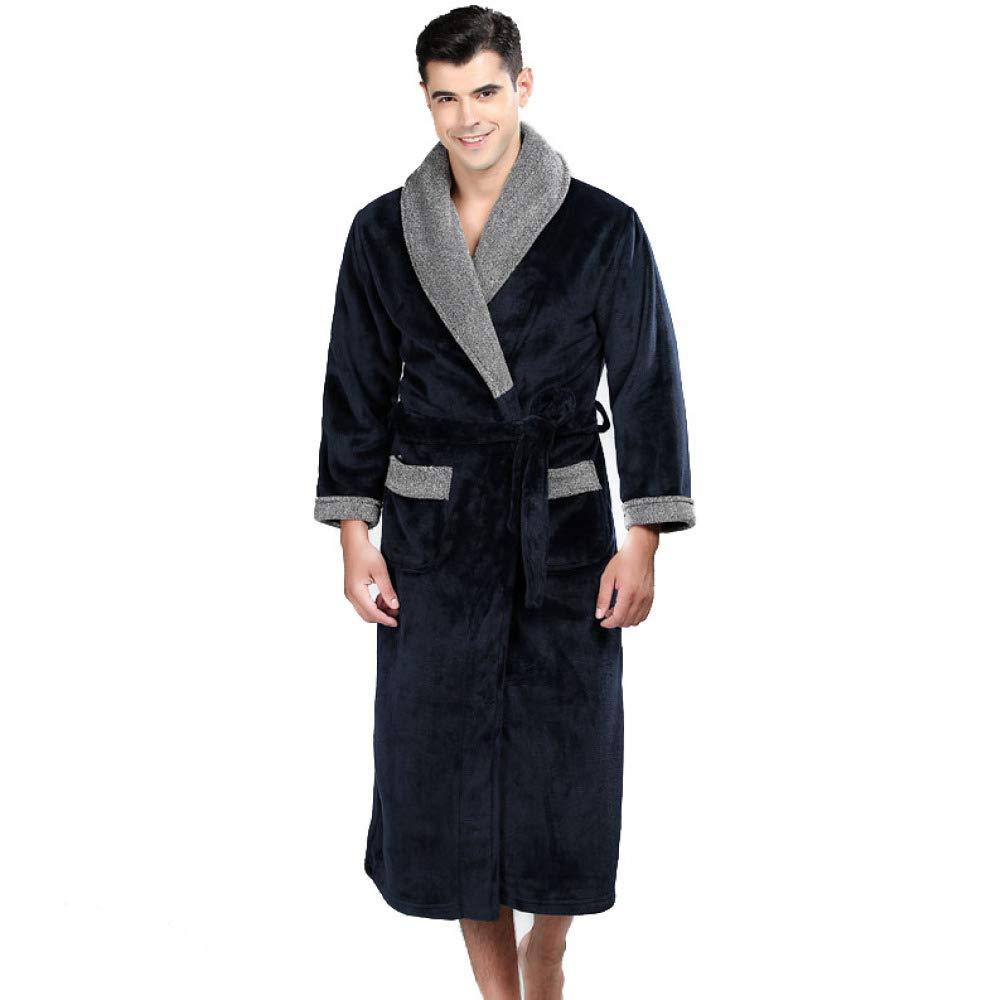 HGDR Hombres Fleece Franela Albornoces Cálido Suave Mantilla Larga Bata Loungewear,Blue-M: Amazon.es: Hogar
