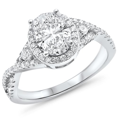 - Oxford Diamond Co Sterling Silver Two Tone Prong Oval Shape Cz Ring Sizes 6-8 (Clear Cubic Zirconia, 5)