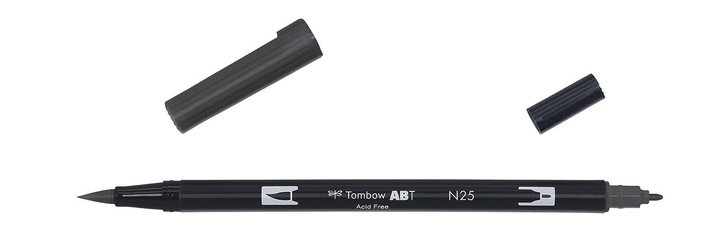 Tombow Dual Brush-N25 - Rotulador doble punta pincel, color negro
