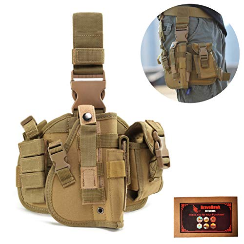 (BraveHawkOutdoors Tactical Drop Leg Holster, 900D Military Tactical MOLLE Pistol Handgun Thigh Holster Platform Panel for Glock 17 18 19 26 34 and More)