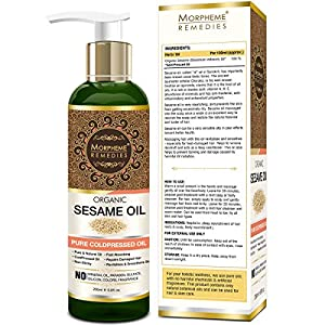 Morpheme Remedies Organic Sesame Pure ColdPressed Oil For Hair, Body, Skin Care, Massage, 200 ml