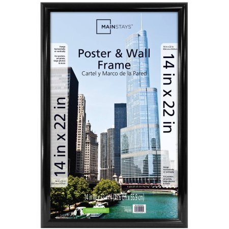 Mainstays 14x22 Trendsetter Poster and Picture Frame, Black