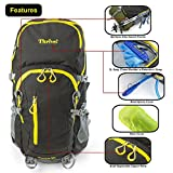 Thrive! Waterproof Washable Frame Backpack for Climbing Hiking Mountaineering Daypack: comes with 3L easy clean water bladder, highly breathable suspension frame, and rain cover