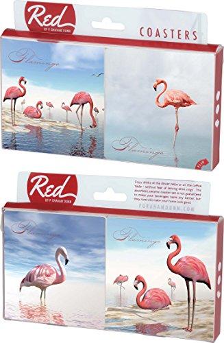 (Pink Flamingos Photography 4 Piece Absorbent Ceramic Coaster Set)