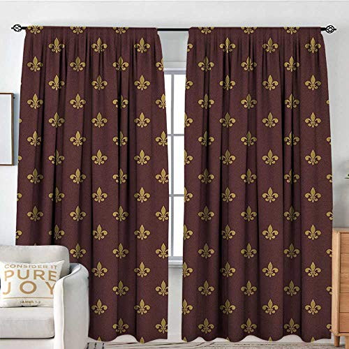 - NUOMANAN Sheer Curtains Fleur De Lis,French Inspired Pattern European Culture Abstract Vintage Renaissance, Burgundy Goldenrod,Decor Collection Thermal/Room Darkening Window Curtains 60