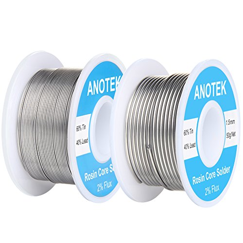 60/40 Rosin Core Solder Wire, 0.6mm and 1.5mm Rosin Core Solder for Stained Glass, Electronics, Gauge wires, Jewelry, Electric Toys and Models,(0.6mm and 1.5mm/ 50g)