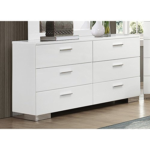 Coaster 203503 Home Furnishings Dresser, Glossy White (Felicity One Handle Kitchen)