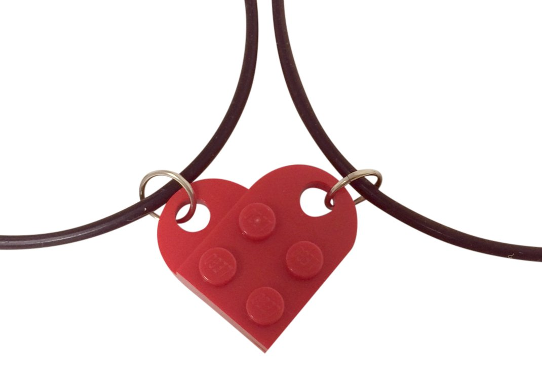 Red Lego Heart Necklace Set, Friendship, Love