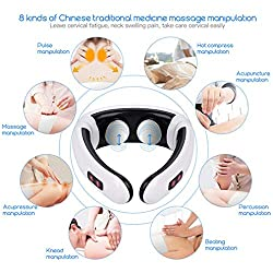 Pretty Glad Electric Pulse Back and Neck Massager Far Infrared Heating Pain Relief Tool Health Care Relaxation Intelligent Cervical Massager