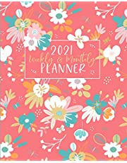 Weekly and Monthly Planner: Agenda & Organizer for Daily Planning   January through December   Pink Floral Cover