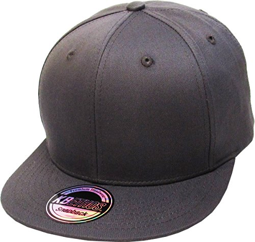 KBETHOS KNW-1467 DGY Cotton Snapback Solid Blank Cap Baseball Hat Flat Brim ()
