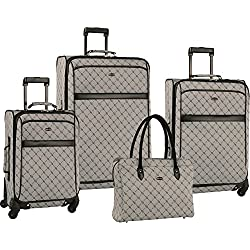 """Travel Gear Signature 4 Piece Expandable Spinner Luggage Set (28""""/24""""/20""""/26""""), Grey/Black"""
