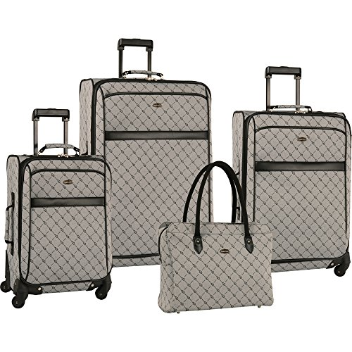 Travel Gear Signature 4 Piece Expandable Spinner Luggage Set (28In/24In/20In/26In), Grey/Black