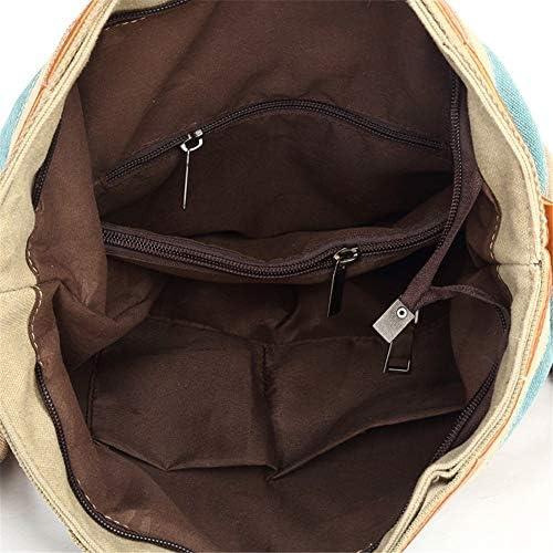 A.OAQRFA Frauen Leinwand Umhängetasche Streifenmuster Handtasche Totes Umhängetaschen Messenger