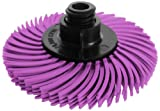 JoolTool 3M Scotch-Brite Pink Radial Bristle Brush Assembled with Plastic Tapered Mandrel Hub, 4 Ply, 2'' Diameter, Pumice