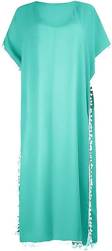 EUCoo Women's Chiffon Swimsuit Beach Bathing Suit Cover Ups for Swimwear Tassel Swimsuit Bikini Beach Cover up Green