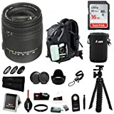 Sigma 18-250mm f/3.5-6.3 Lens for Canon EF w/ DSLR Backpack & 16GB SD Bundle