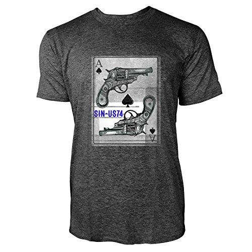 SINUS ART® Pik Ass Karte mit Revolvern Herren T-Shirts in dunkelgrau Fun Shirt mit tollen Aufdruck