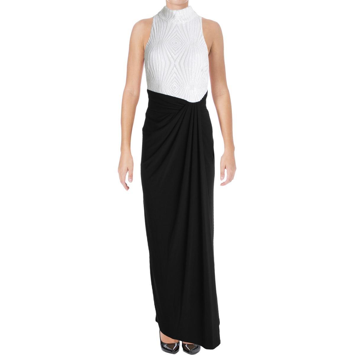 Ralph Lauren Womens Sequined Gown Dress Blwhtsh 2