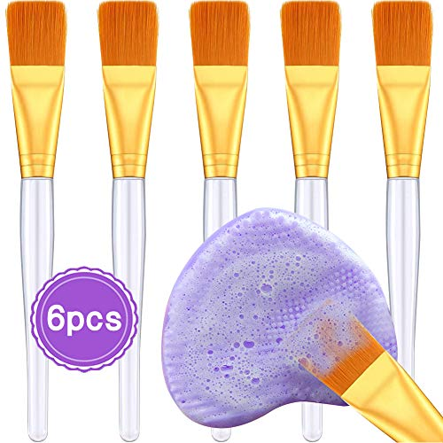 EC VISION Facial Mask Brush with Brush Cleaning Mat, Professional Quality Skin Soft Cosmetic Face Brush for Applying Clay Mask Eye Peel Serum or DIY Facial Mask DIY Facial Mask(6Pcs) by EC VISION